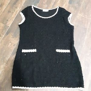 JOSEPH RIBKOFF KNIT DRESS EMBELLISHED BLACK M